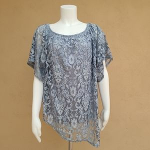 Democracy Lace Overlay Built in Tank Top Plus 1X